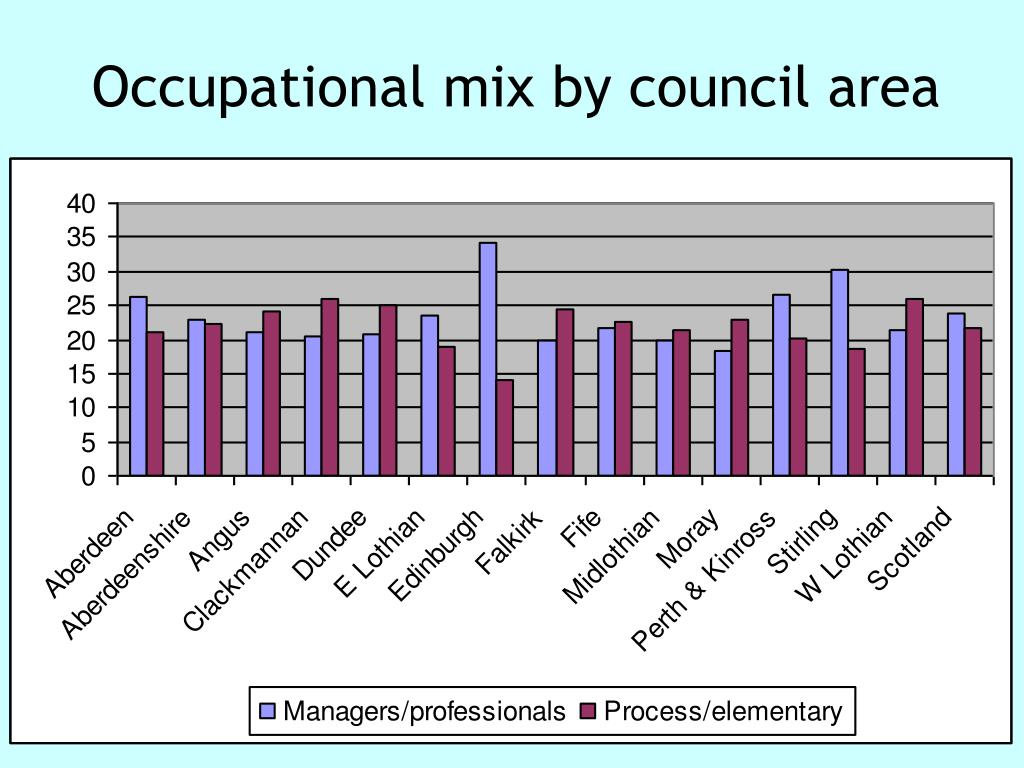 Occupational mix by council area