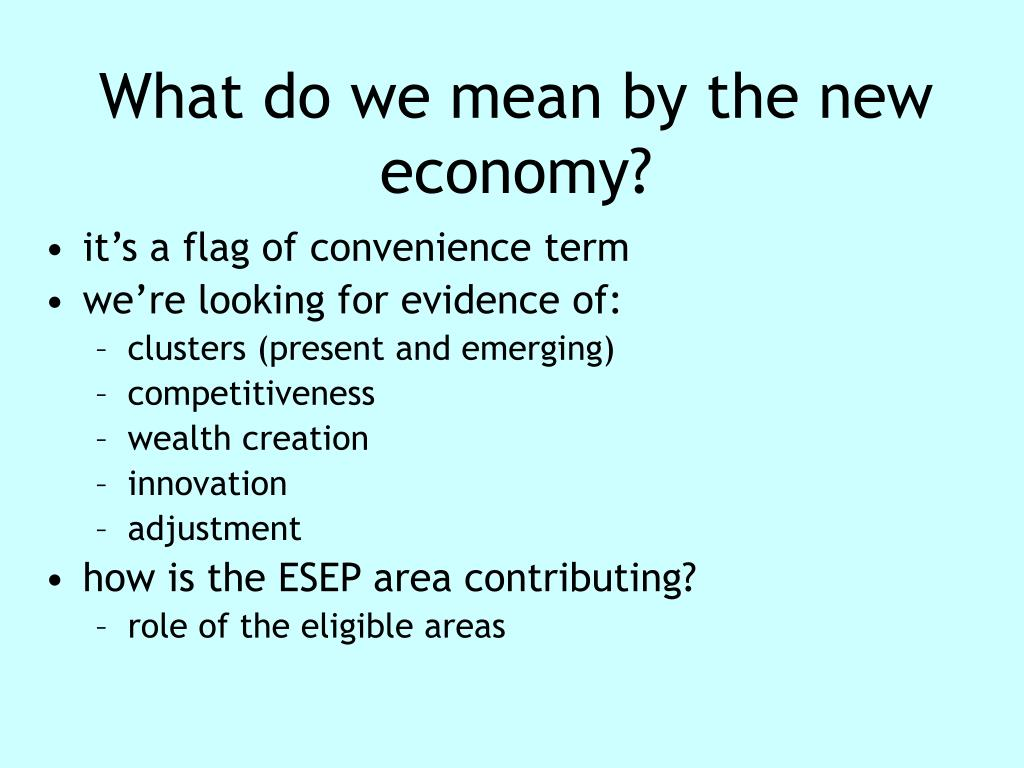 What do we mean by the new economy?