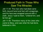 produced faith in those who saw the miracles30