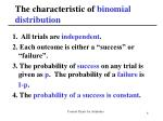 the characteristic of binomial distribution