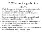 2 what are the goals of the group