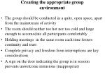 creating the appropriate group environment