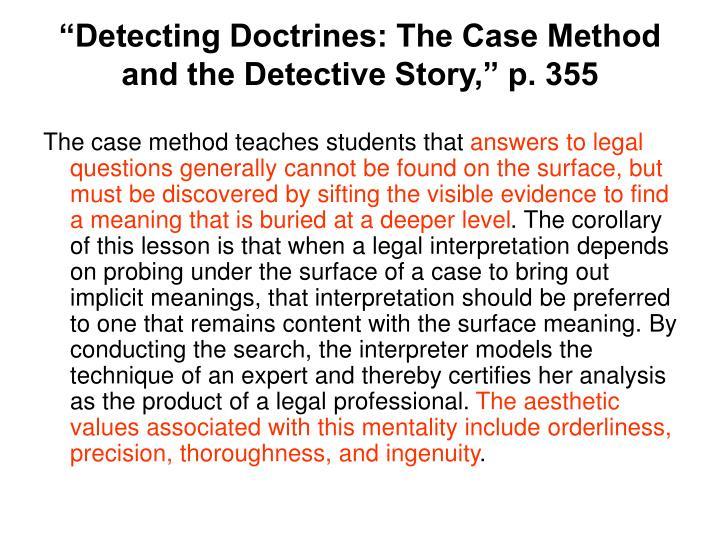 """""""Detecting Doctrines: The Case Method"""