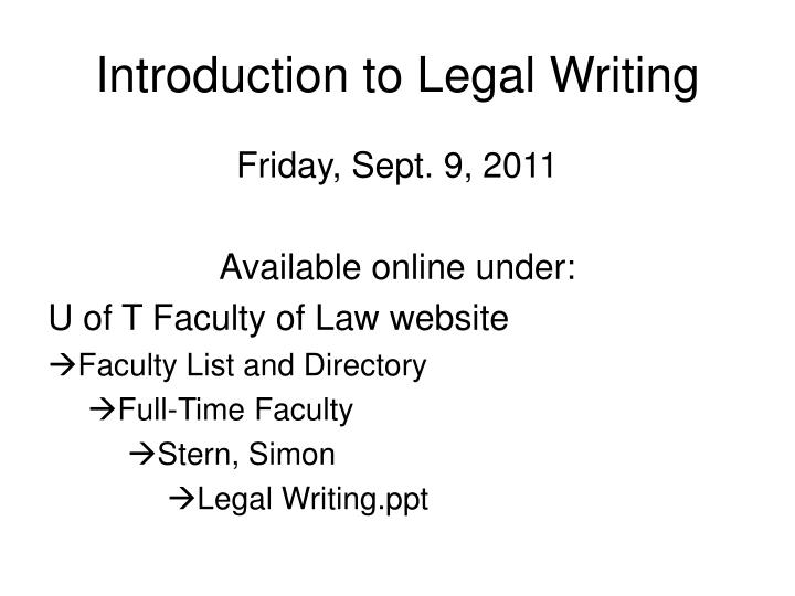 introduction to legal writing n.