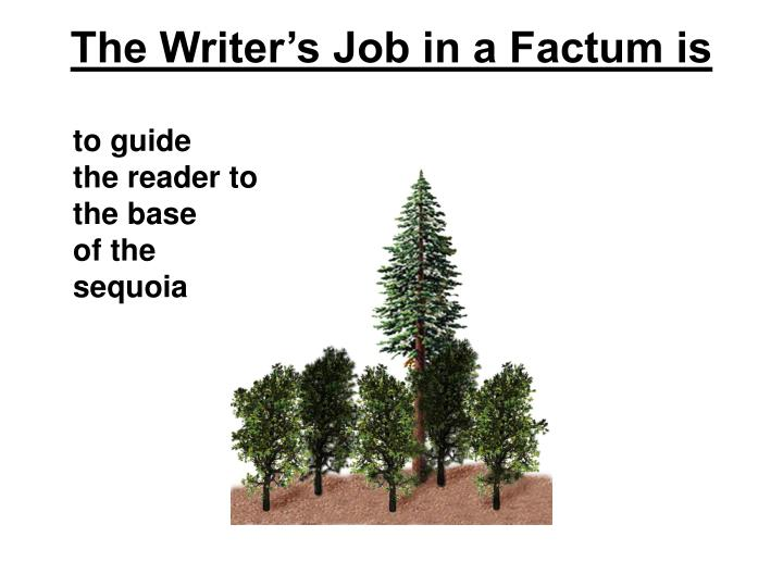 The Writer's Job in a Factum is