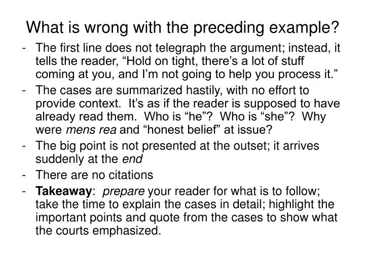 What is wrong with the preceding example?