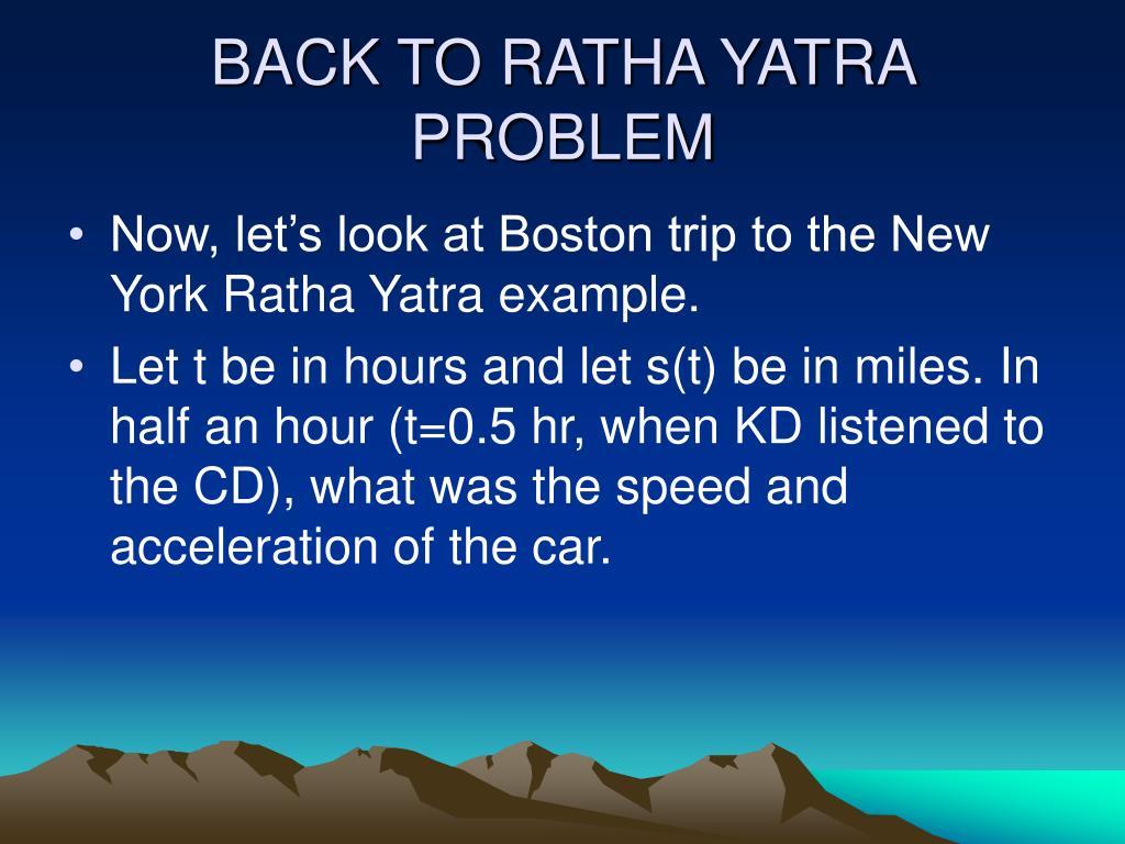 BACK TO RATHA YATRA PROBLEM