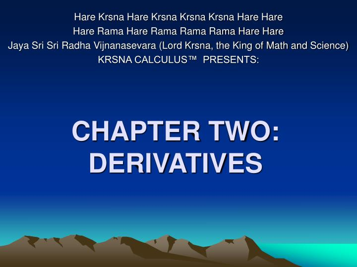 Chapter two derivatives