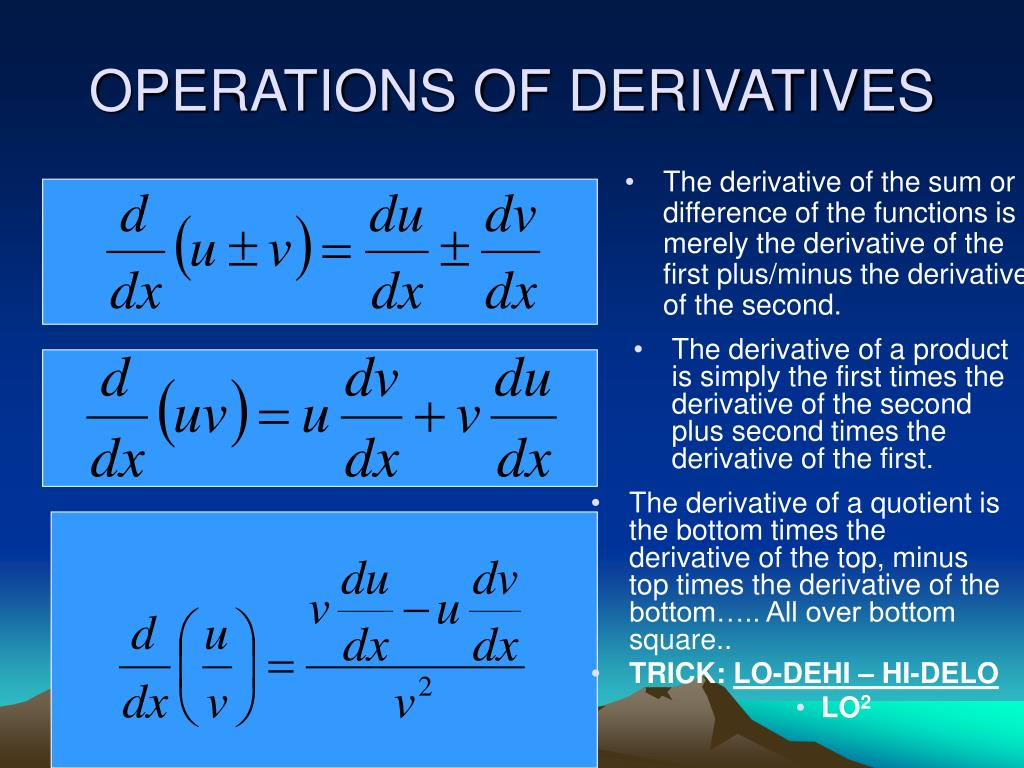OPERATIONS OF DERIVATIVES