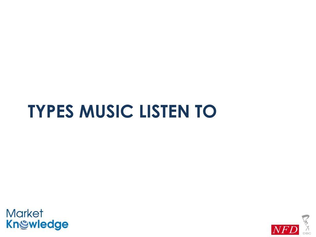Types music listen to