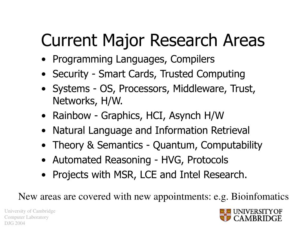 Current Major Research Areas