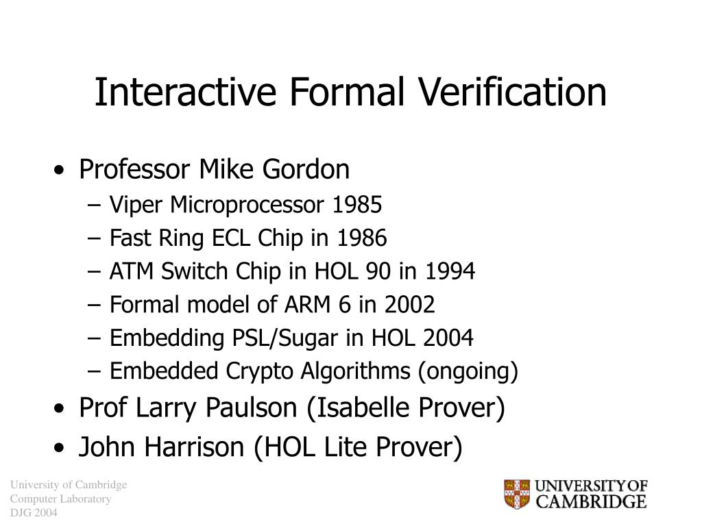 Interactive Formal Verification