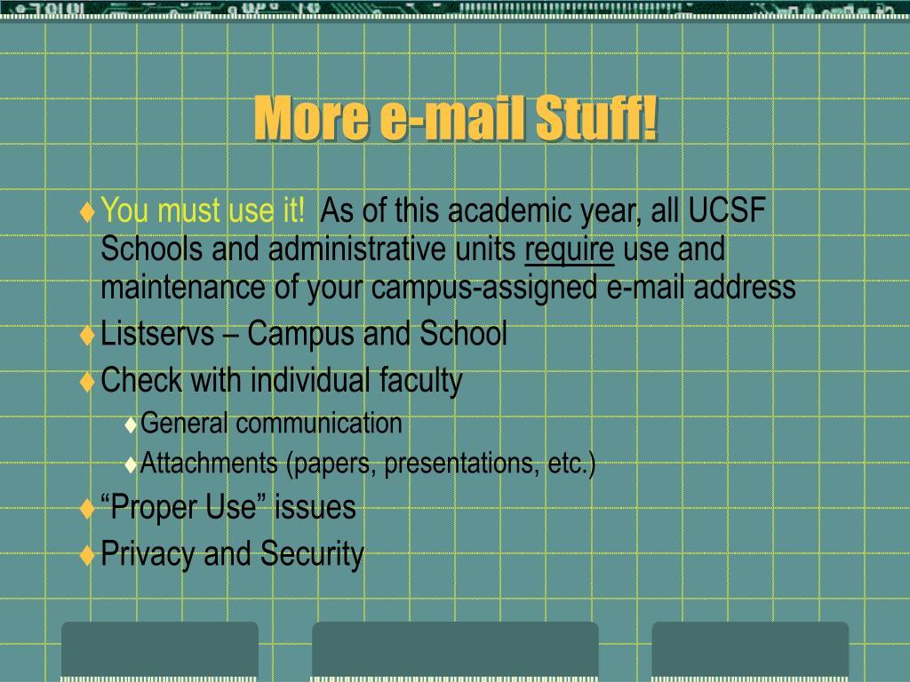 More e-mail Stuff!