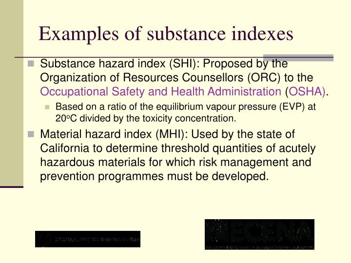 Examples of substance indexes
