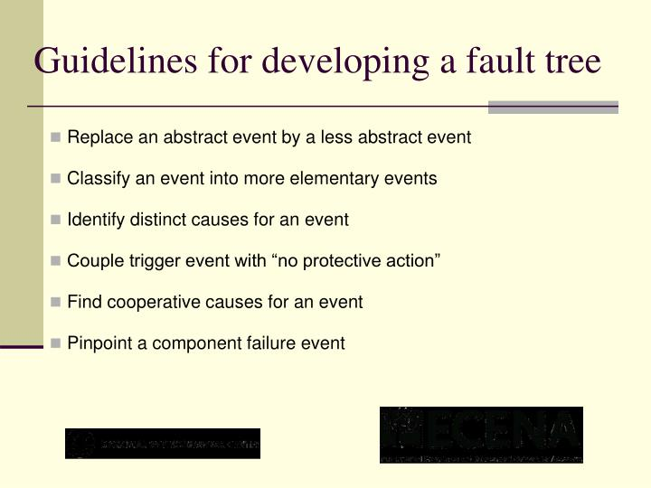 Guidelines for developing a fault tree