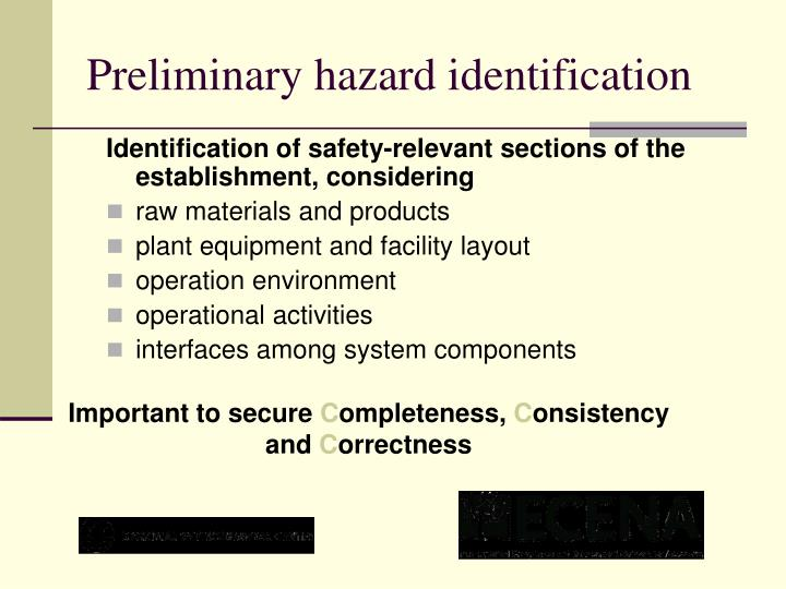 Preliminary hazard identification