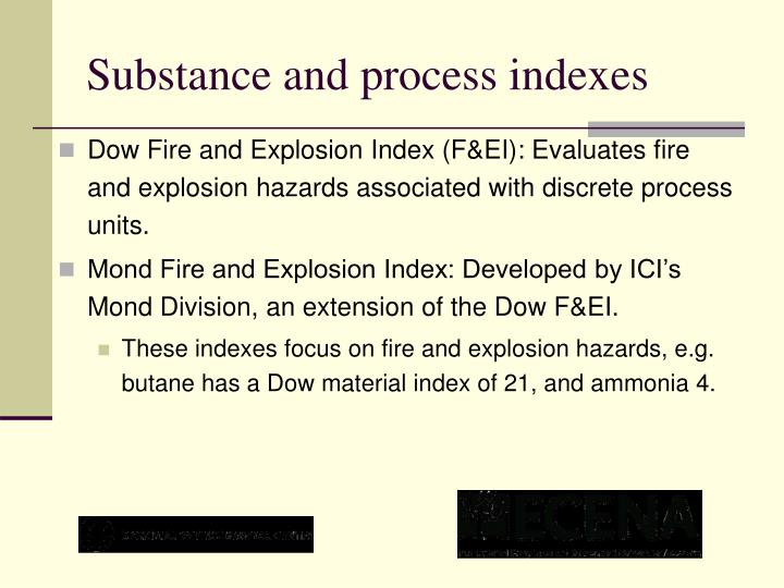 Substance and process indexes