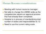 human resource considerations