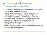 job descriptions performance evaluations competencies