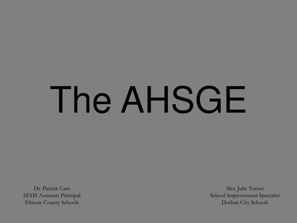 The AHSGE