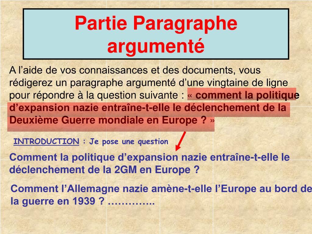 Partie Paragraphe argumenté