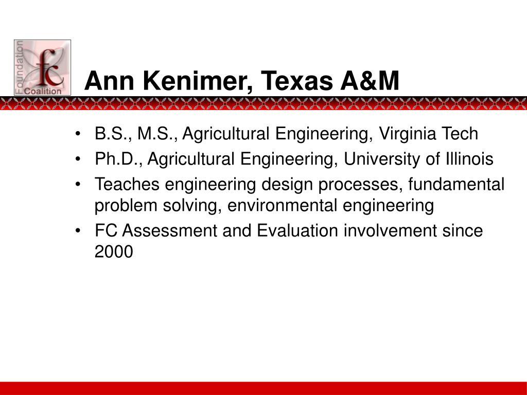 Ann Kenimer, Texas A&M