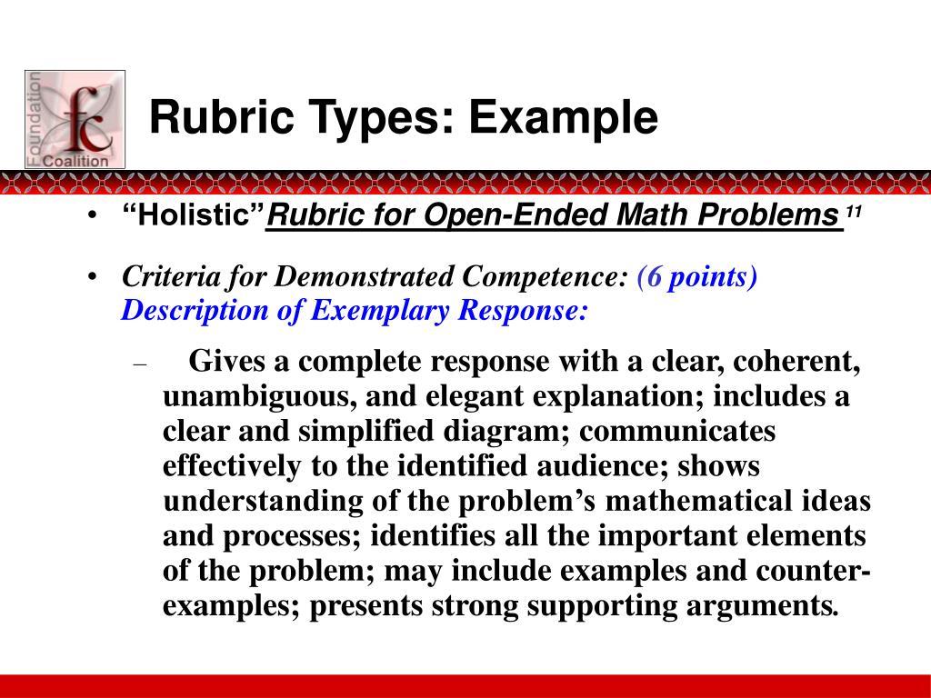 Rubric Types: Example