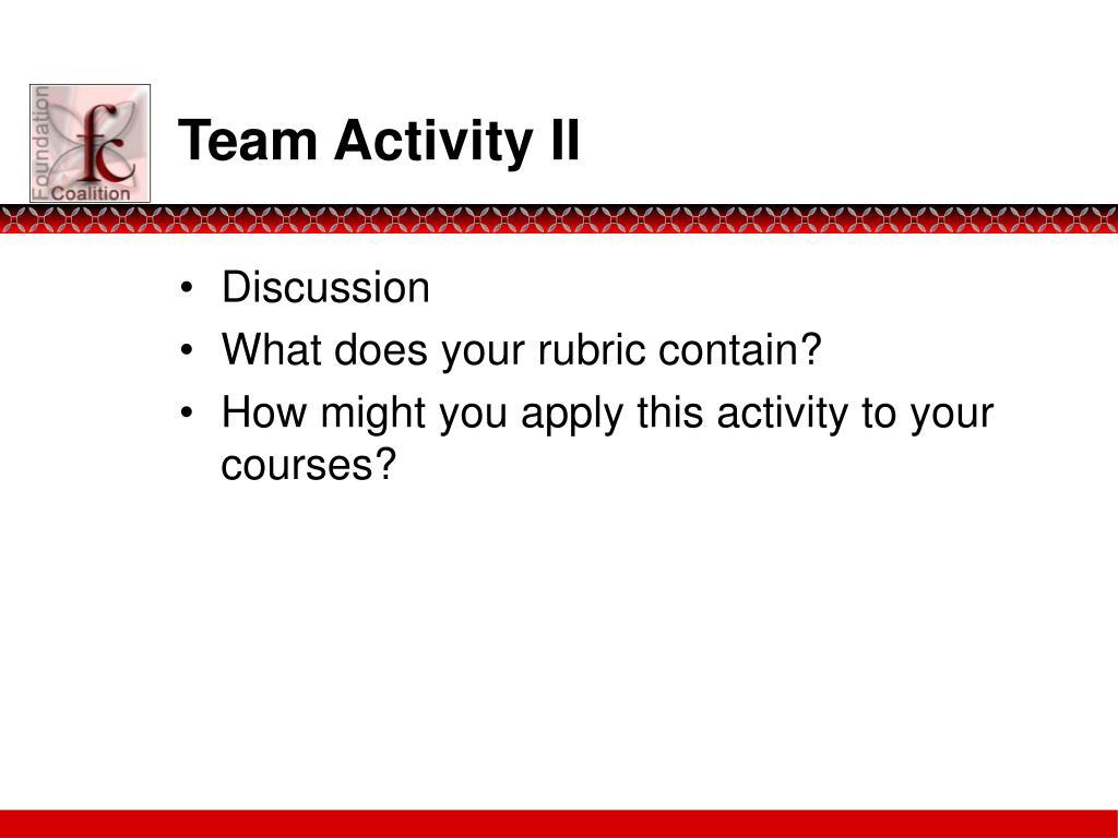 Team Activity II