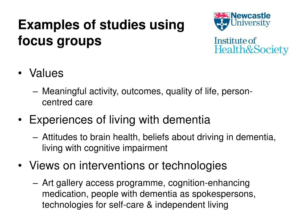 Examples of studies using focus groups