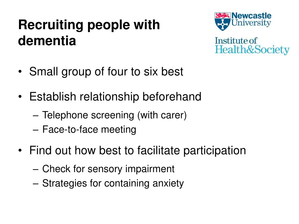 Recruiting people with dementia