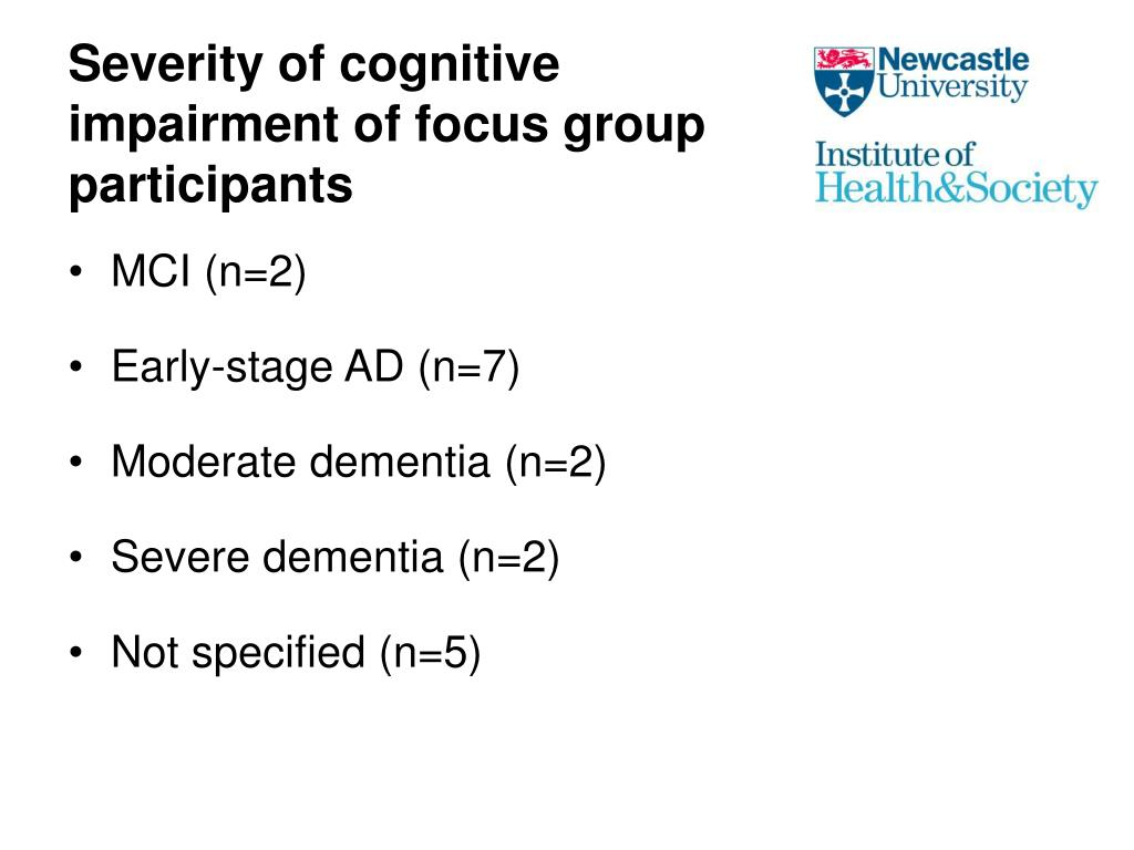 Severity of cognitive impairment of focus group participants