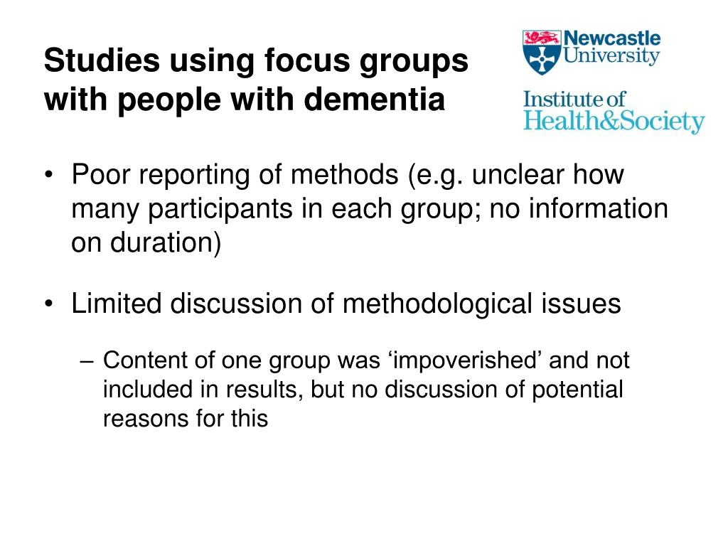 Studies using focus groups with people with dementia