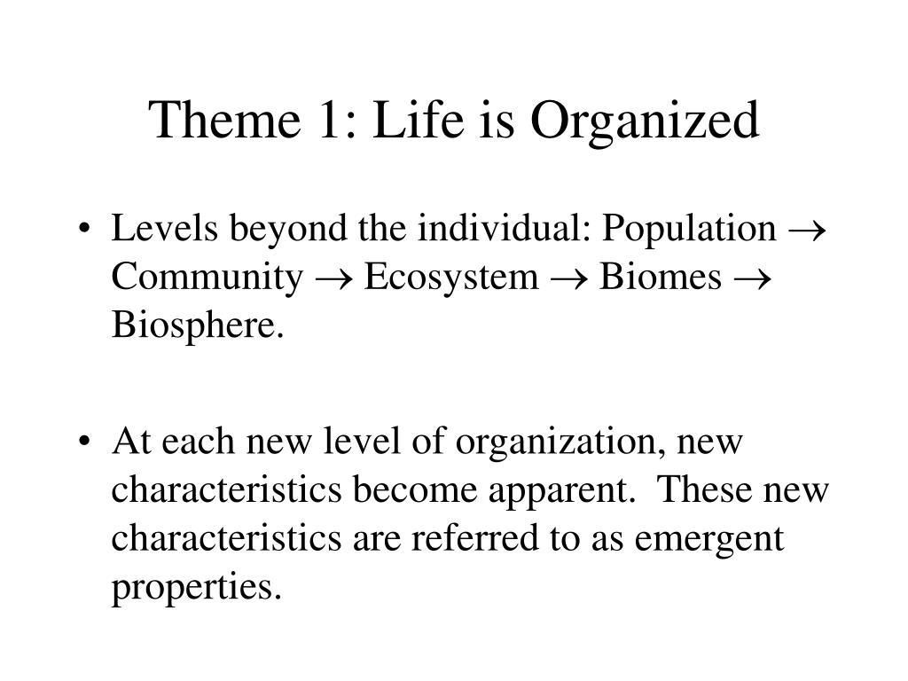 Theme 1: Life is Organized
