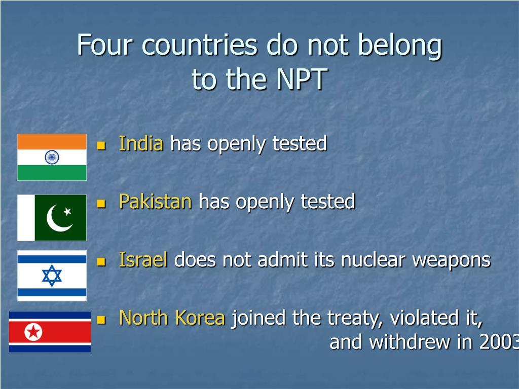 Four countries do not belong