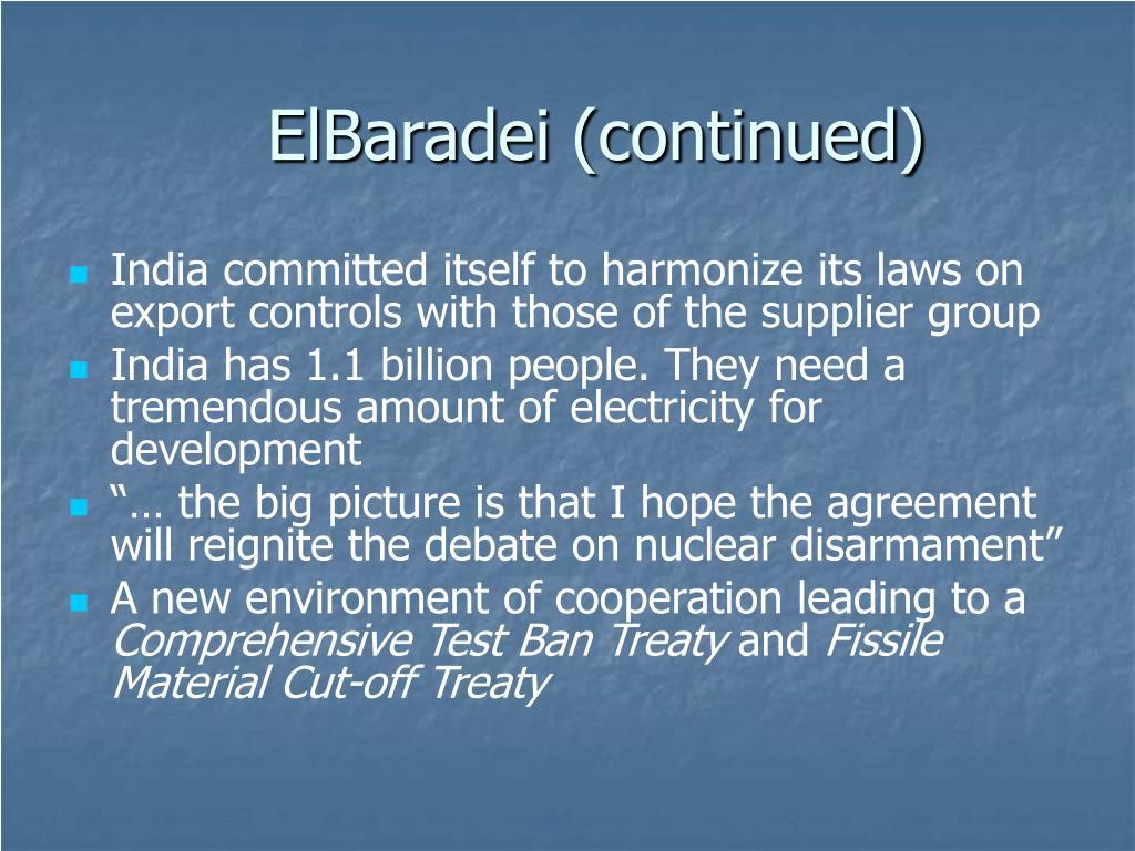 ElBaradei (continued)