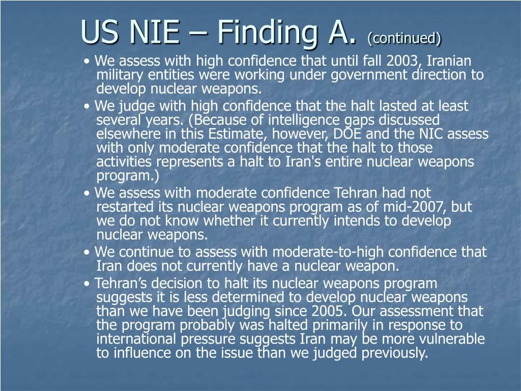 US NIE – Finding A.