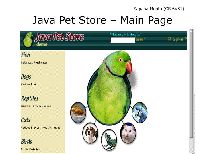Java pet store main page