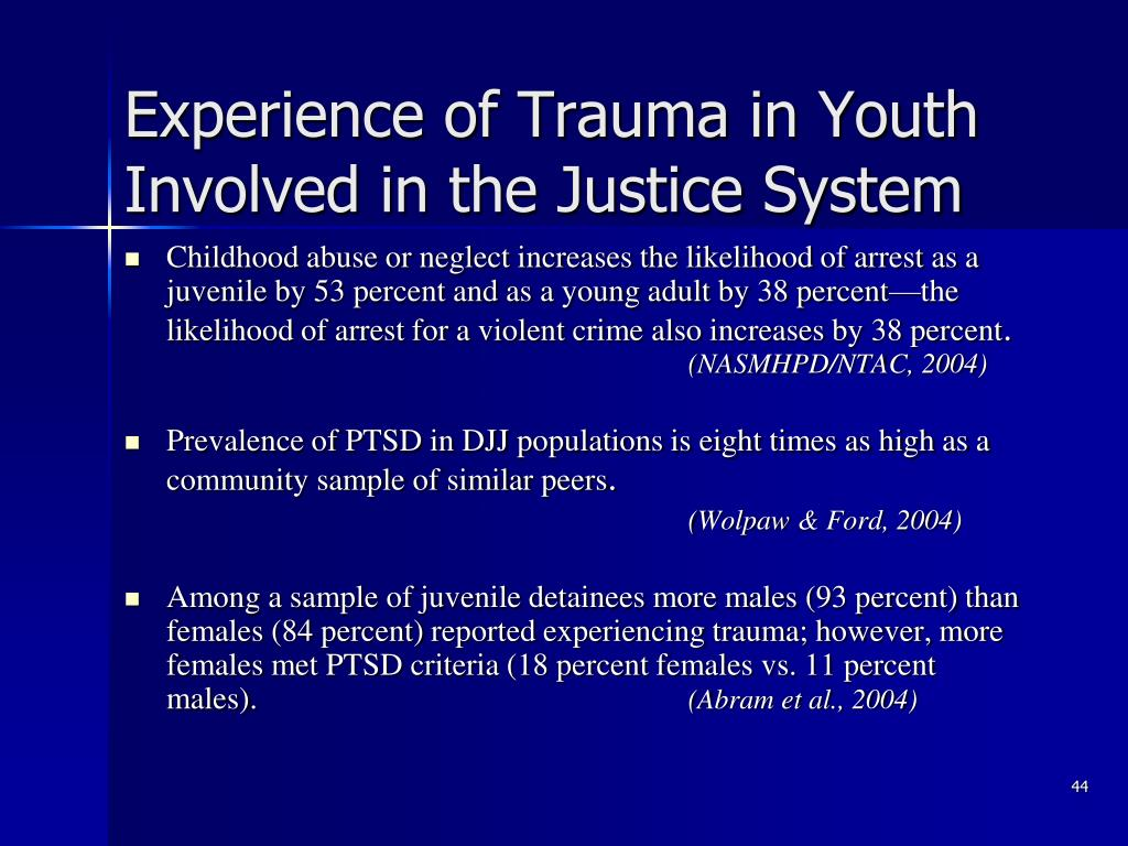 Experience of Trauma in Youth Involved in the Justice System