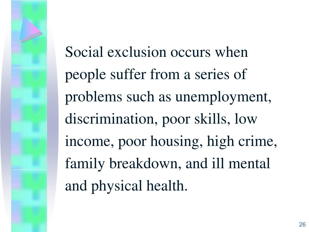 Social exclusion occurs when