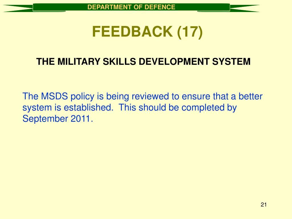 THE MILITARY SKILLS DEVELOPMENT SYSTEM