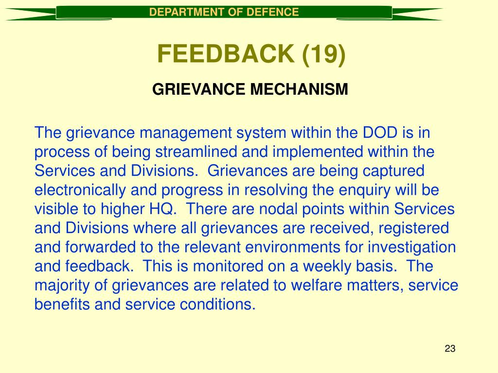 GRIEVANCE MECHANISM