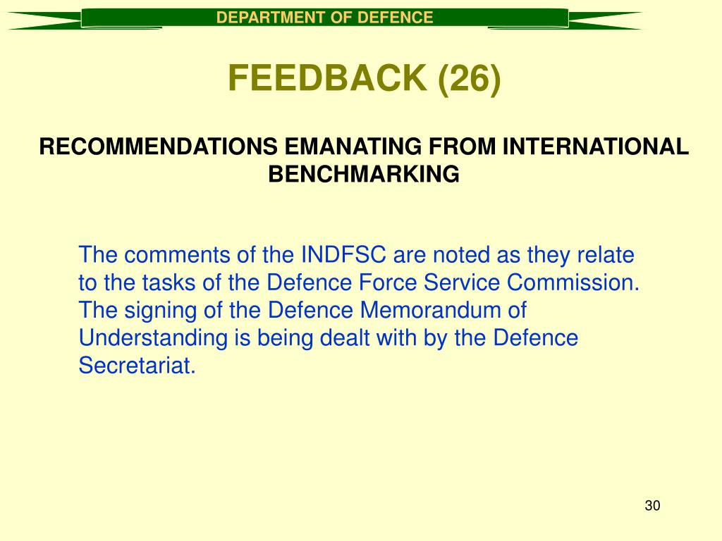 RECOMMENDATIONS EMANATING FROM INTERNATIONAL BENCHMARKING