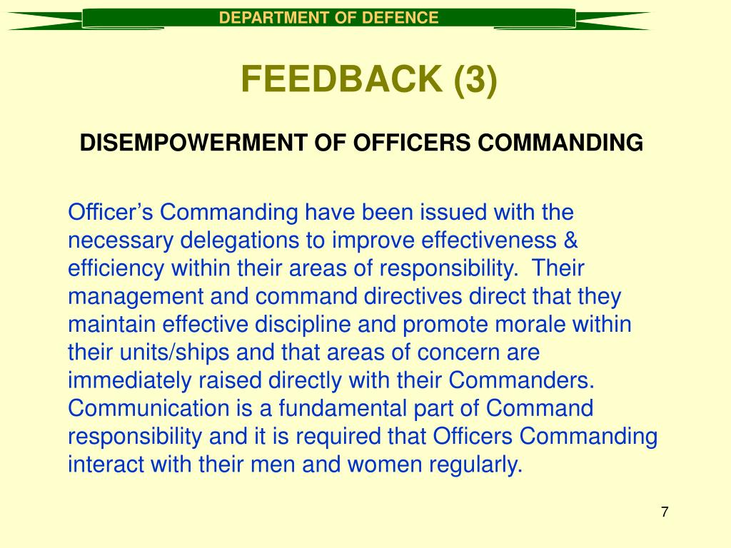 DISEMPOWERMENT OF OFFICERS COMMANDING