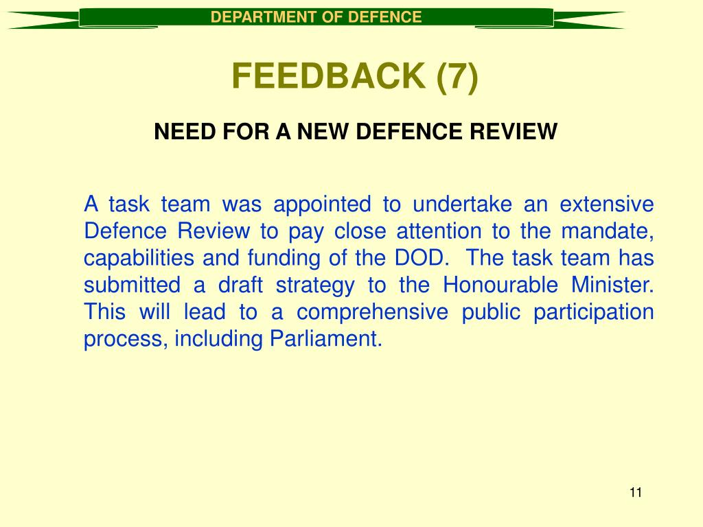 NEED FOR A NEW DEFENCE REVIEW