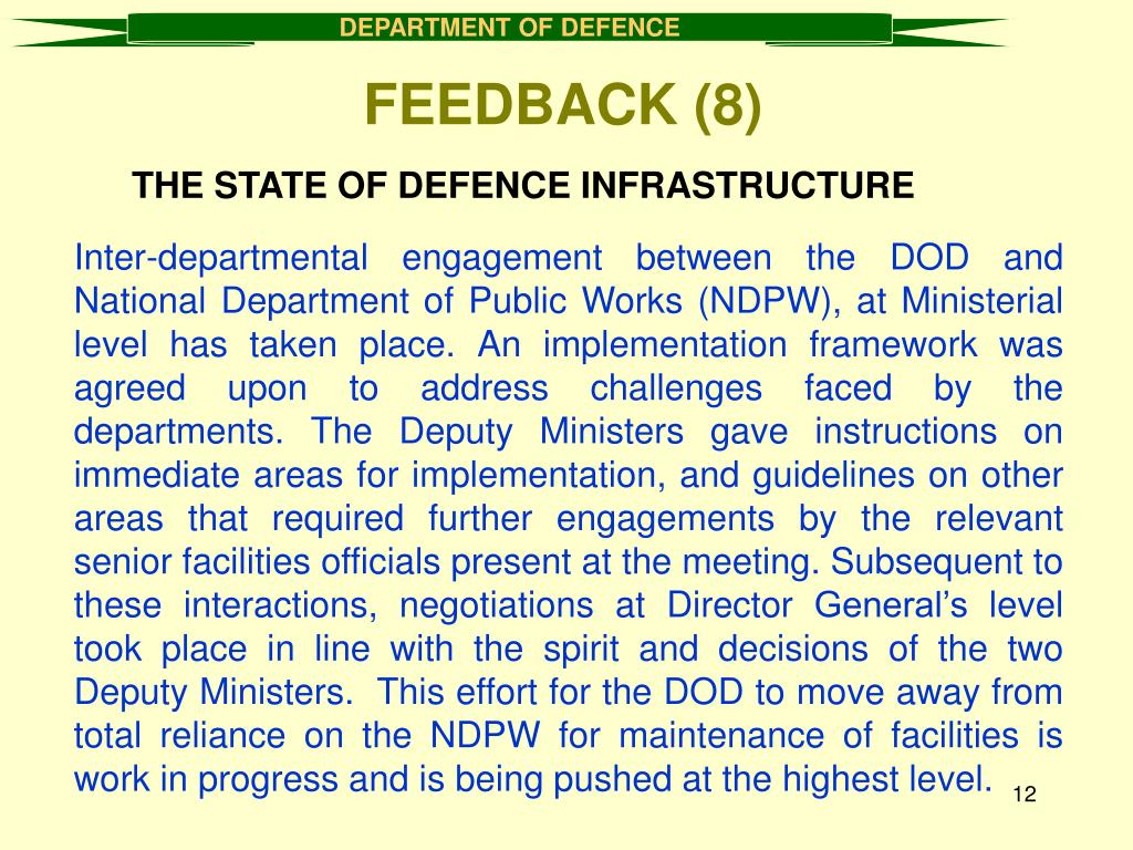 THE STATE OF DEFENCE INFRASTRUCTURE