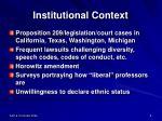 institutional context
