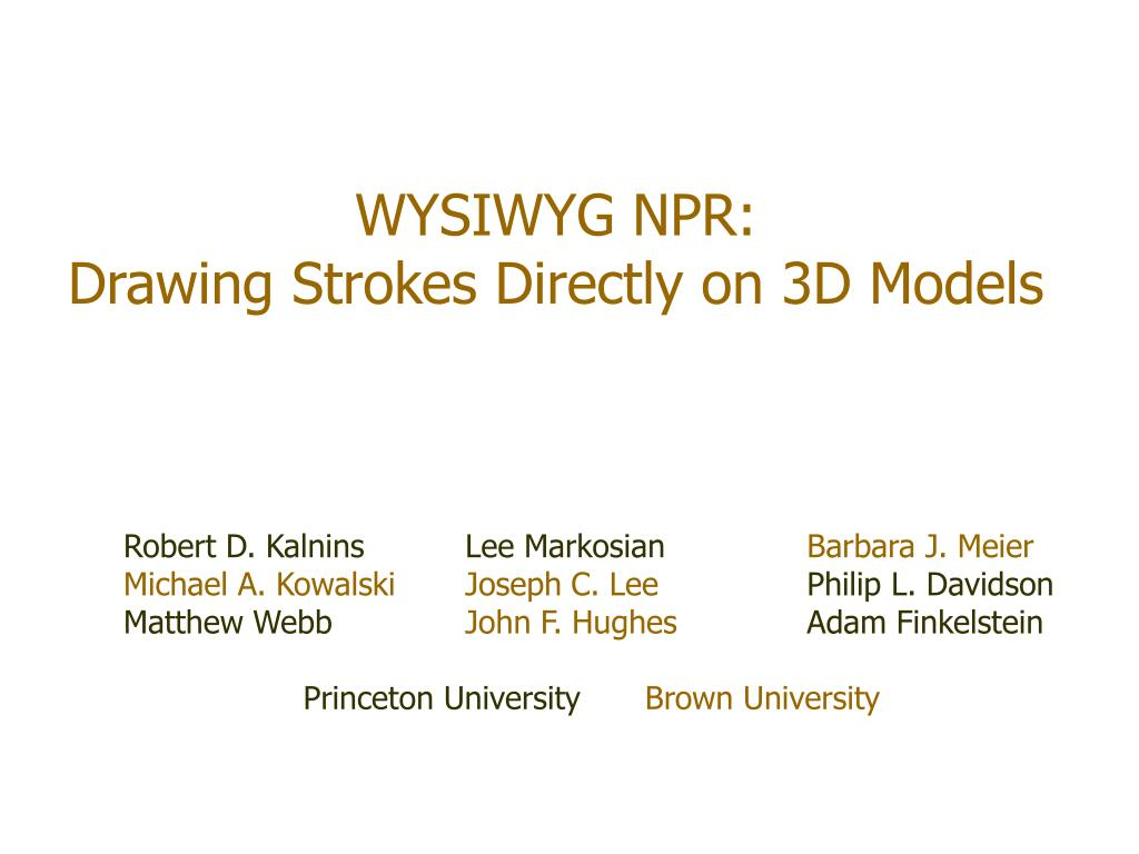 wysiwyg npr drawing strokes directly on 3d models l.