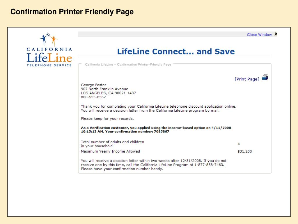 Confirmation Printer Friendly Page