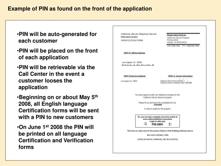 Example of PIN as found on the front of the application