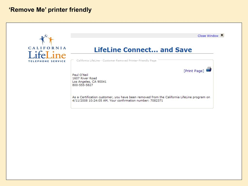 'Remove Me' printer friendly
